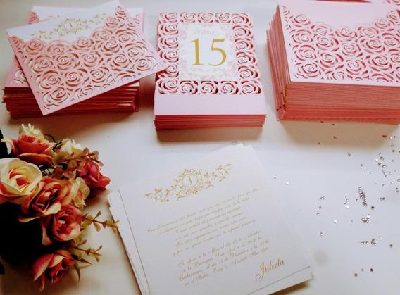 Invitaciones De Boda 15 Años Caladas Rosas Tarjetas Caladas
