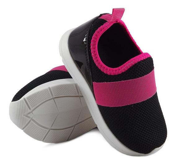 Tenis Infantil Feminino Slip On Menina Elástico Preto Pink