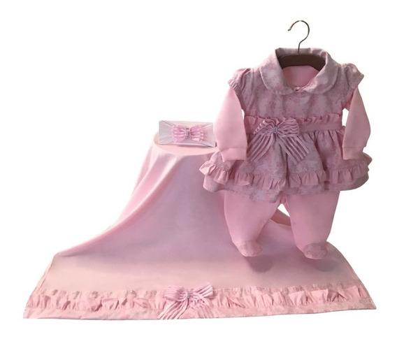 Kit Saída Maternidade Menina Princesa Rosa Perola - 3 Peças