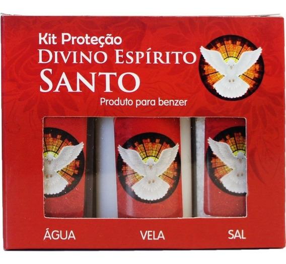 10 Kit Divino Espirito Santo Para Benzer Agua, Vela E Sal