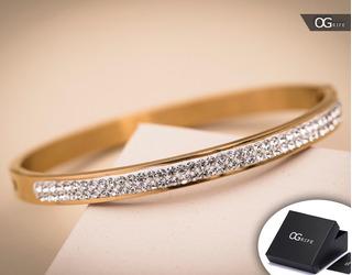 Pulseira Bracelete Feminino Aço Inox J-268 Banhado Ouro 18k