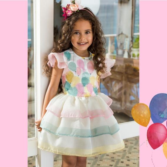 Vestido Luluzinha Balões Com Saia Organza