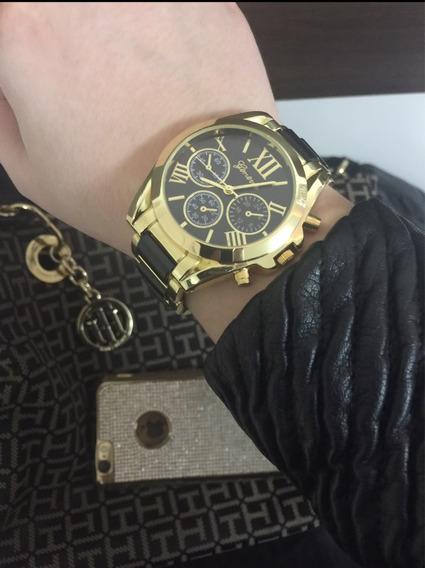 Relógio Feminino Dourado E Preto