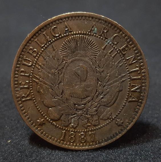 Moneda Argentina 2 Centavos. Patacón. Cobre. Año 1887. 55018