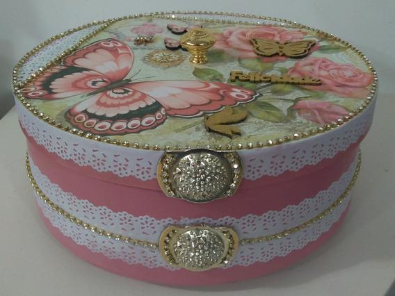 Caixa Mdf Porta Trecos Decorada Rosa/ Dourado Com Borboletas