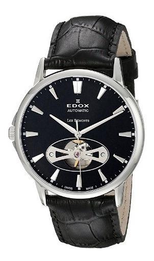 Relógio Edox Les Bemonts Preto/couro Heart Automático Suíço