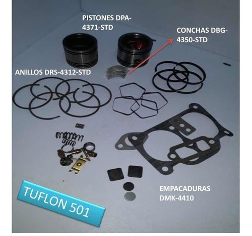 Kit Reparacion Compresor De Aire Tuflo 501 5 Anillos Mack.