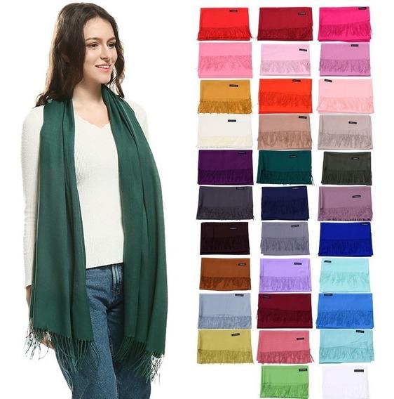 5 Pashminas Chalinas Bufandas Lisas Con Flecos 40 Colores A Elección (precio Por Mayor)