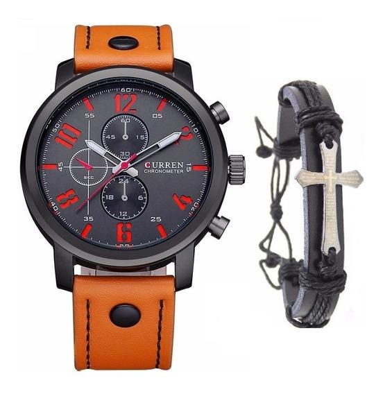 Relógio Masculino Curren Casual Militar + Pulseira Crucifixo