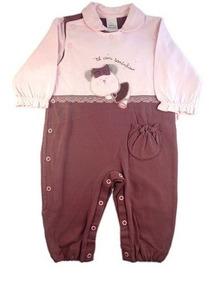 Macacão Para Bebê Longo Malha Marrom E Rosa Para Meninas.