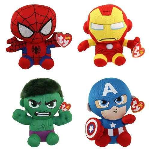 Kit Com 4 Pelúcias Ty Beanie Babies Original Marvel - 3718