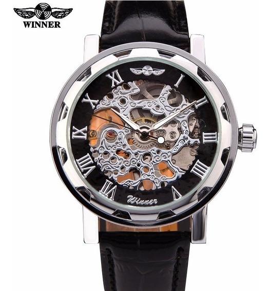 Dia Del Padre Reloj Skeleton Winer Automatic Mecanico Regalo