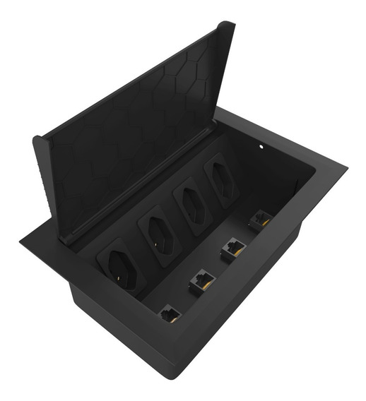 Caixa De Tomada Embutir Mesa 4 Tomadas E 4 Rj45 Cat6 Preto