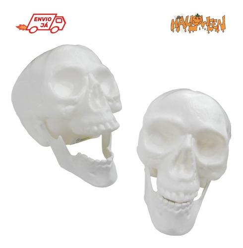 Imagem 1 de 4 de Cabeça De Esqueleto Caveira Crânio Com Mandíbula Halloween