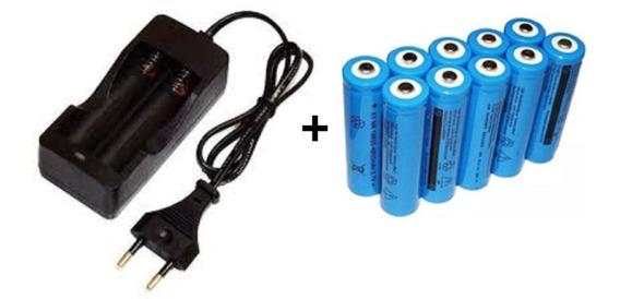 Carregador + 10 Bateria 18650 4,2v Recarregável Lanterna Led