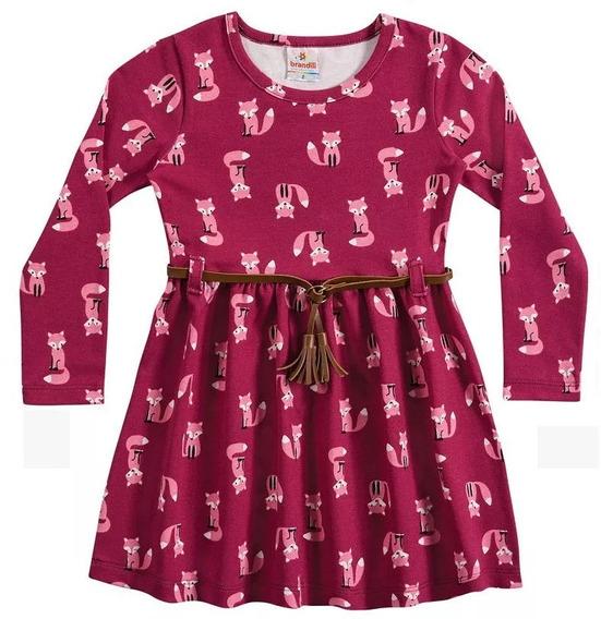 Vestido Brandili Raposinhas Manga Longa C/ Cinto Tam 3