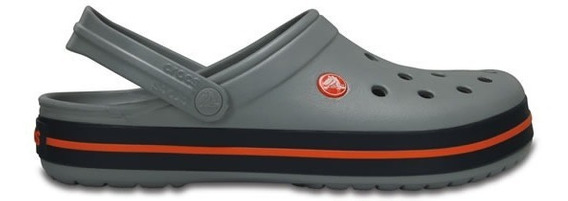 Zapato Crocs Unisex Infantil Crocband Gris / Naranja