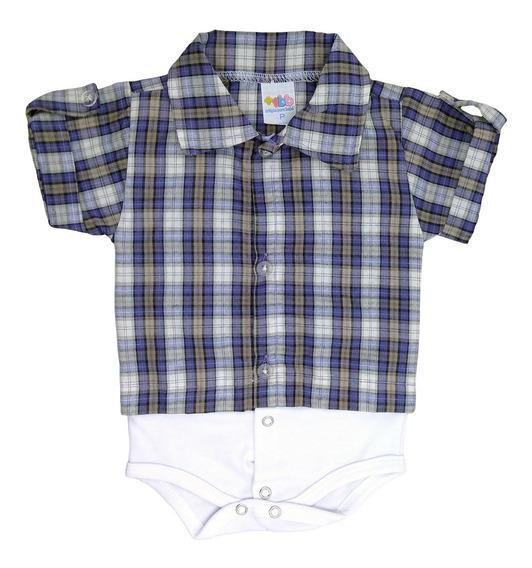 Body Camisa Para Bebê Manga Curta Xadrez Lilás - Masculino