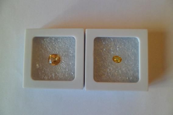 Raro Par De Safiras Amarelo Ouro Lapidação Oval 5 Ct