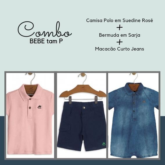 Combo Bebe Menino Tam P = Polo + Bermuda + Macacão Jeans
