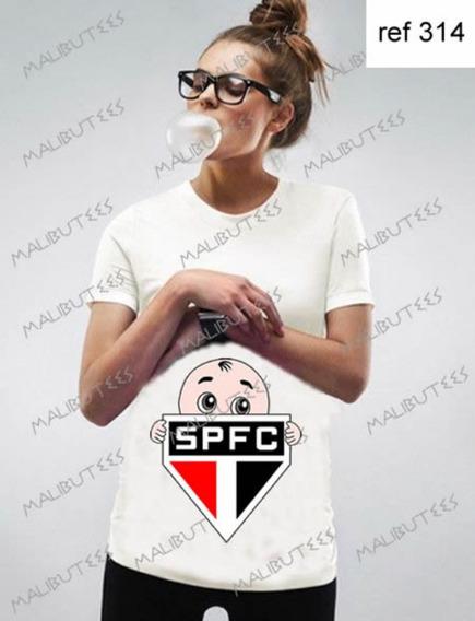 Camiseta T-shirt Bata Gestante Bebê Time São Paulo Ref 314