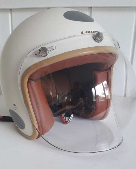Capacete Lucca Of605 Cafe Racer Creme Bege Nº 58 / Viseira