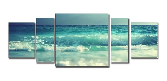 Cuadros Mar Olas Natrualeza 160x60 Decorativos Modernos Tela