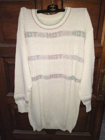 Maxi Sweters De Hilo Blanco Retro Vintage