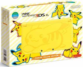New 3ds Xl Edição Amarelo Picachu Destravado Cheio De Jogos