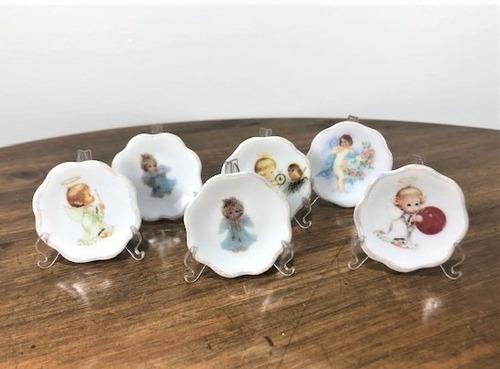 Kit 10 Pratinhos 4,5cm Anjo Variado Bebe Batismo Nascimento
