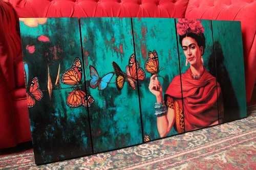 Cuadros Frida Kahlo Con Mariposas 5 Piezas 50x100 Cm
