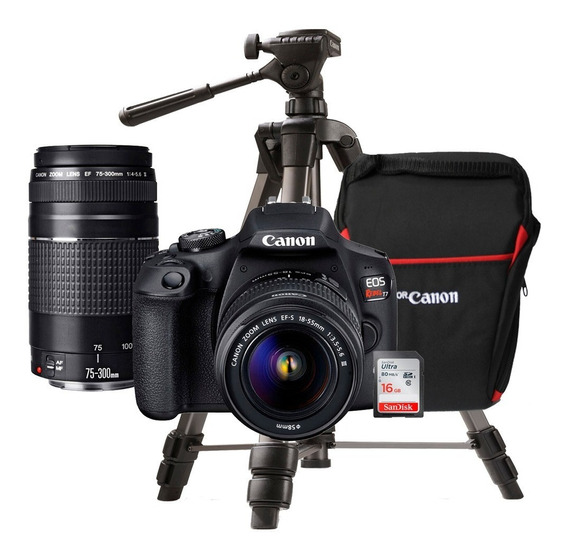 Camara Canon Eos Rebel T7 + Lente 18-55 + Lente 75-300