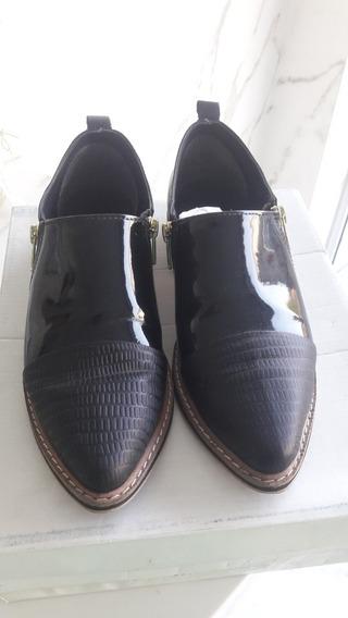Zapatos Mocasin, Charol, Cuero Y Cierres. Suela, N35
