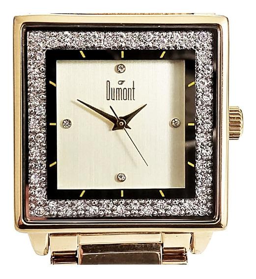 Relógio Dumont Feminino Quadrado Dourado Du2035lml/4x