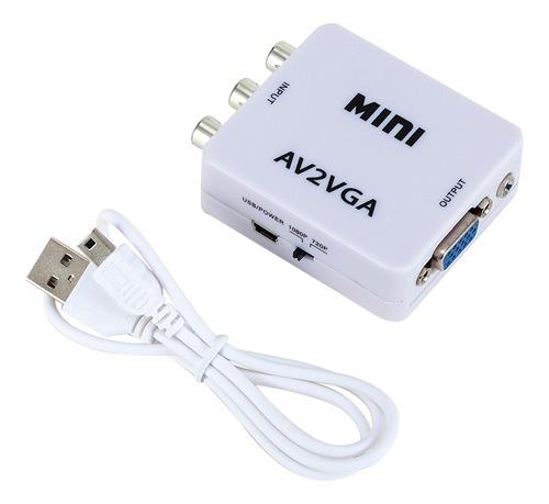 Imagen 1 de 6 de Mini Av2vga Video Converter Convertor Box Av Rca Cvbs A Vga