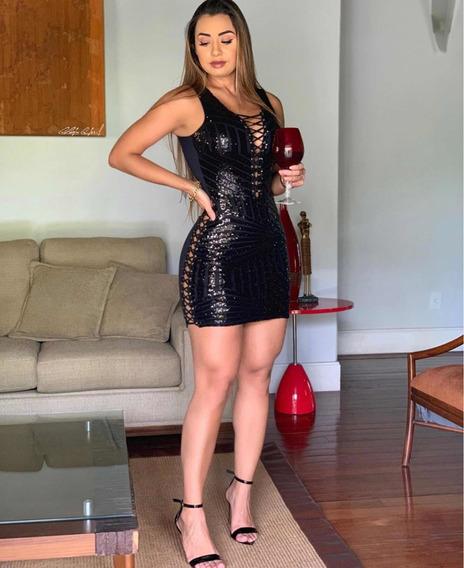 Vestido Paetê Balada Sexy Luxo