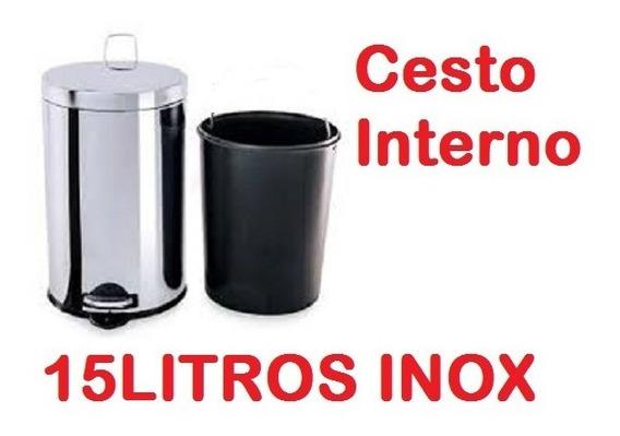 Lixeira Inox Pedal 15l Recipiente Interno Plástico