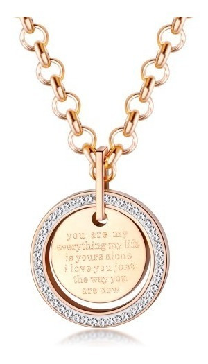 Collar Acero Rosa Circulo De Amor - 1392