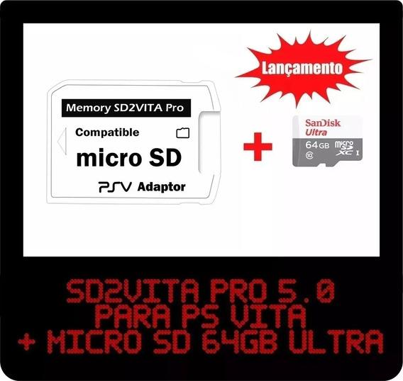 D2vita Pro 5.0 - Adp. Micro Sd P/ Psvita+64gb Ultra Promoção