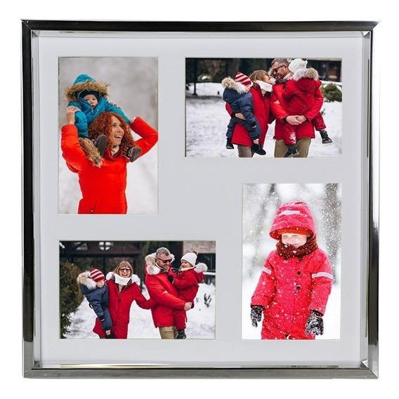 Porta Retrato 30x30 C/ 4 Fotos 10x15 - Prata
