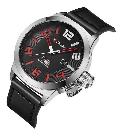 Relógio Masculino Original Pulseira De Couro Curren Militar