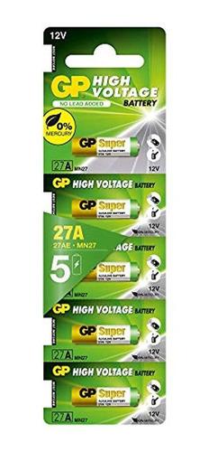 Imagen 1 de 5 de Gp 27 A (mn27) De Alto Voltaje Bateria - Tarjeta De 5 Piezas
