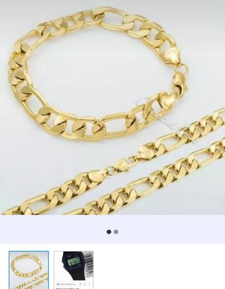 Corrente+pulseira Folheado A Ouro 18k+ Relógio De Brinde