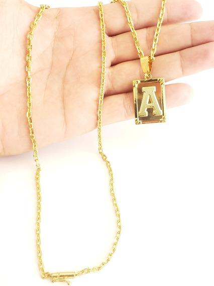 Cordão Cadeado 3mm Com Pingente De Letra Banhado A Ouro 70cm