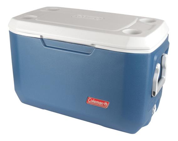Cooler Coleman 66l Azul Con Posavasos De Camping Aislante