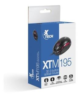 Mouse Xtech Xtm-195 3d 3 Botones Luz 1000dpi Usb