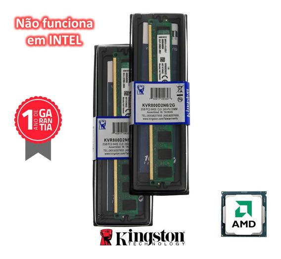 Kit 4gb 2x Memória Kingston Ddr2 2gb 800mhz Amd Nova Lacrada