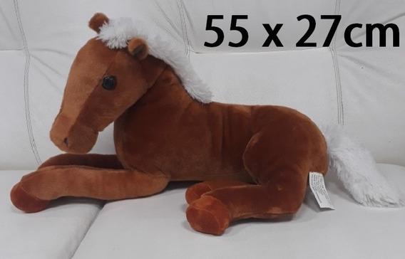 Cavalo De Pelúcia Grande 55 X 27cm Marrom Presente Namorada
