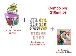 Combo Globos Cumpleaños Torta Numero Unicornio (precio Abajo