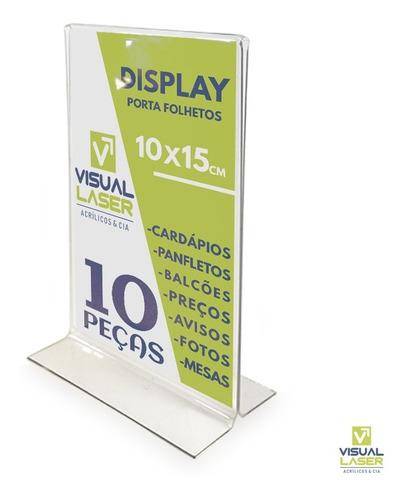 Display De Mesa Kit 10pç 10x15 A6 T Invertido Porta Folheto